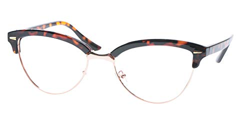 (SOOLALA Womens Mens Fashion Designer Semi-rimless Cat Eye Reading Glasses, Leopard, 1.25x )