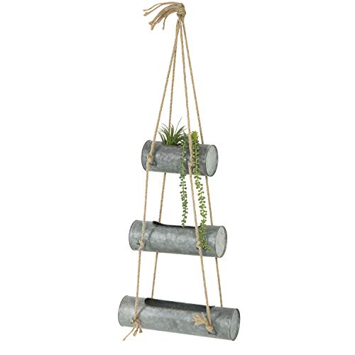 MyGift 3-Tier Rustic Galvanized Metal Hanging Planter Pots with Jute Rope