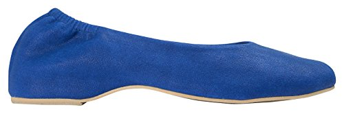 Toe Leather On Blue Flats Ballet Elastic Womens AnnaKastle Square Shoes Vegan Slip RwzCwqEI