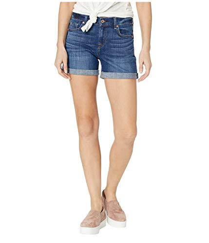 (7 For All Mankind Women's Relaxed Mid Roll Shorts, Broken Twill Vanity, Blue, 23)