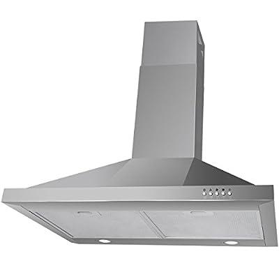 Stainless Steel Kitchen Range Hood Led Lights Airflow 440 CFM w/ 3 Speed Fan Levels