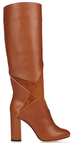 charlotte olympia Corine' Star-Appliqué Leather Knee-High Boots (9 US, 39 IT)