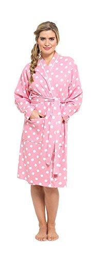 Mujer Albornoz Estilo Gofre Bata, Suave 100% Algodón Cruzado Kimono Del Punto Rosado