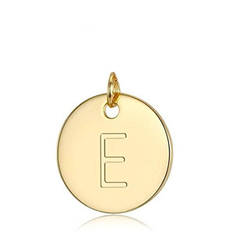 1pc 14k Gold on Sterling Silver Initial Disc Letter E Charm Pendant Personalize Earrings Bracelet Necklace Anklet Jewelry Making SLP1-5