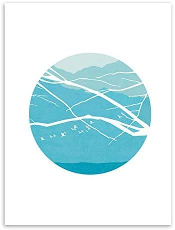 モダンミニマリストのポスター星月と太陽のガチョウ数字によるペイント風景プリントキャンバス絵ホームウォールアートデコレーション、40x50 cmフレームなし、写真Color1