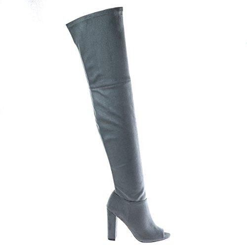 Barbara13 Overgespoten Knie Dij Hoge Peep Toe Nood Versleten Jean Laarzen Op Hoge Hak -7 Morrisgrijs