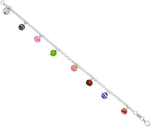 Sterling Silver Italian Rolo Link Bracelet, w/ White, Pink, Green, Red, Blue, Black & Orange Murano Glass Beads, 1/4 inch (6 mm) wide