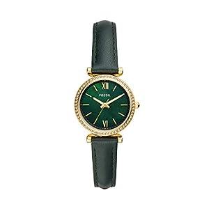Fossil Women's Carlie Mini Quartz Leather Watch, Color: Green, 12 (Model: ES4651)