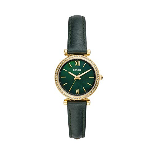 Fossil Women's Carlie Mini Quartz Leather Watch, Color: Green, 12 (Model: ES4651)