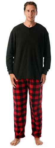 #followme Pajama Set for Men with Thermal Henley Top and Polar Fleece Pants 44909-1A-L - Plaid Pajama Bottoms