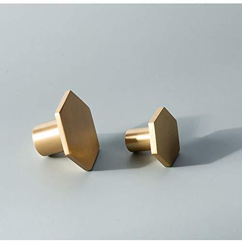 Brushed Brass Hexagon Cabinet Knobs Dresser Pulls Kitchen Furniture Handle Hardware 2Pack 5Pack 10Pack (10, 21x34mm)