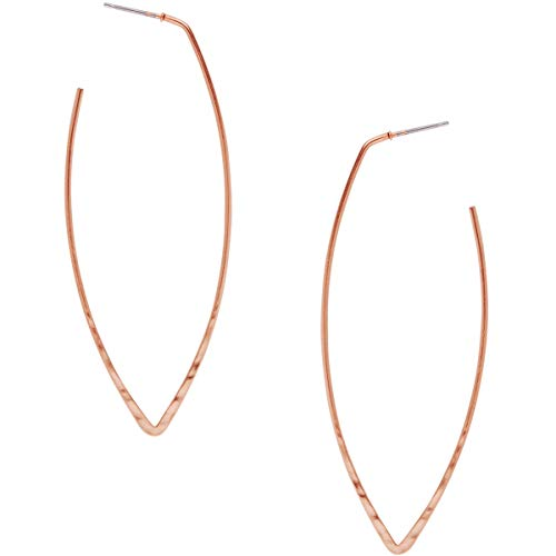 (Humble Chic Big Hoop Earrings - Textured Long Open Leaf Statement Loops with Hypoallergenic Stainless Steel Post, Marquise 18K Rose, Pink Gold-Electroplated, Geometric Shape)