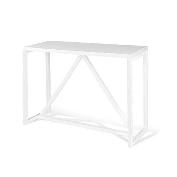 Kate and Laurel Kaya Wood Console Table, White - Decorative modern console table brings a stylish statement to your home entryway or living room Bring glamour and sophistication into your home with this modern minimalist design console table Console table is high quality and measures 42 inches wide by 14 inch deep by 30 inches high - living-room-furniture, living-room, console-tables - 31UXHHfzlBL. SS570  -