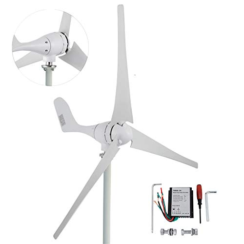 Happybuy Wind Turbine Generator 600W DC 24V Wind Turbine 3 Blade Low Wind Speed Starting NSK Bearings Garden Street Lights Wind Turbines with Charge Controller Garden