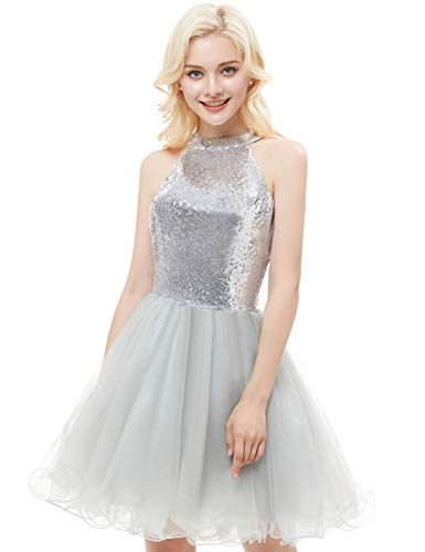 ned Homecoming Dresses 2018 Short Sleeveless Tulle Prom Gown Size 4 Silver ()