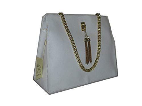 - Luisa, Italian Genuine Calf Leather Handbag Tote with Shoulder Strap. White. Large. Made in Italy