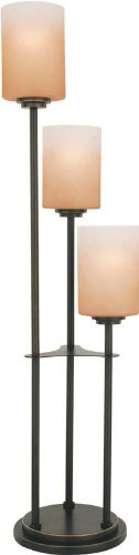 Lite Source LS-20700D/BRZ Bess 3-Light Table Lamp with Amber-Glass Shades, Dark ()
