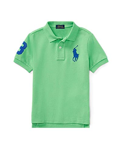 RALPH LAUREN Boys Cotton Mesh Polo Shirt, and Sizes (7, New Lime) ()