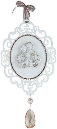 Quadro Decorativo Oval Branco em MDF 3mm com Resina de Sagrada Família e Strass Bronze -15cm x 31cm