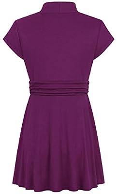BEPEI Womens V Neck Shirt Cap Sleeve Empire Waist Flowy Tunic Top Dressy Blouse