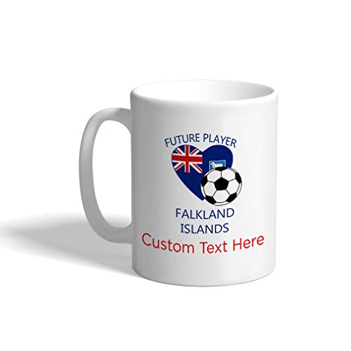 Custom Funny Coffee Mug Coffee Cup Future Soccer Player Falkland Islands White Ceramic Tea Cup 11 OZ Personalized Text Here ()