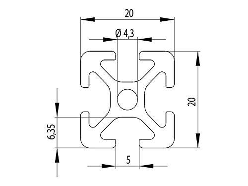 Perfil de aluminio 20 x 20, tipo B de 5 ranuras, longitudes estándar
