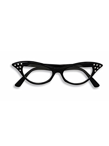 1950's Cat Eye Shaped Rhinestone Glasses, Black, One - Cat Shaped Eye Glasses