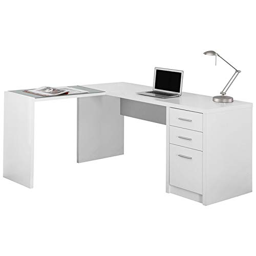 Monarch Specialties I I 7136 Corner with Tempered Glass Computer Desk, 60