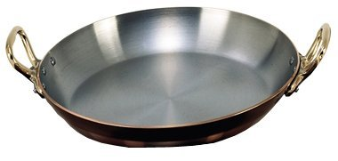 INOCUIVRE Copper Stainless Steel Round Dish with 2 Brass Handles 9.5-Inch by De Buyer