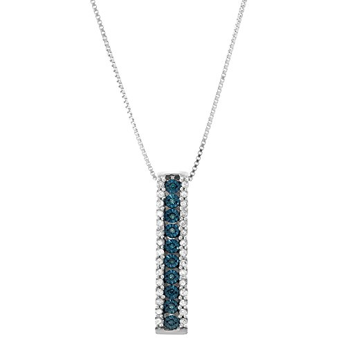 - 1/5 CTTW Sterling Silver miracle plate Blue & White Diamond Stick Pendant Necklace (I-J, Blue, I1-I2)