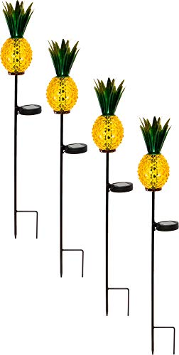GreenLighting 4 Pack Outdoor Solar Pineapple Light - Glass Path LED Stake Lights for Patio and Garden