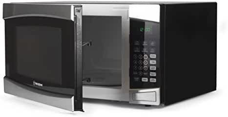 Westinghouse WCM16100SS 1000 Watt Counter Top Microwave Oven, 1.6 Cubic Feet, Stainless Steel Front, Black Cabinet