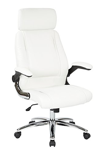 - Work Smart FL27513C-U11-osp Executive Faux Leather Chair, White
