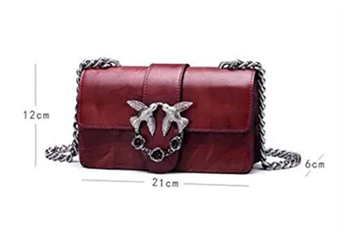 Handbags Chain Cross body Shoulder Swallows Genuine Messager Leather Bag Red Wine Alins qg4pzx0dwz
