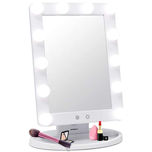 AirExpect Makeup Vanity Mirror with Light Bulbs - 3 Color Lighting Modes Hollywood Style Tabletops Lighted Cosmetic Mirror with 12 Dimmable LED Bulbs and Touch Control Design (Best Light Bulbs For Applying Makeup)