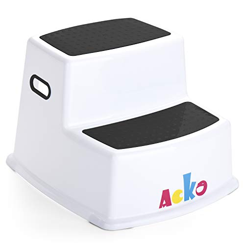 - Acko Dual Height Step Stool Design with Anti-Slip Surface for Toddler Potty Training Kid Exercising Multi-Use in Bathroom and Kitchen Hold up to 330lbs,Black