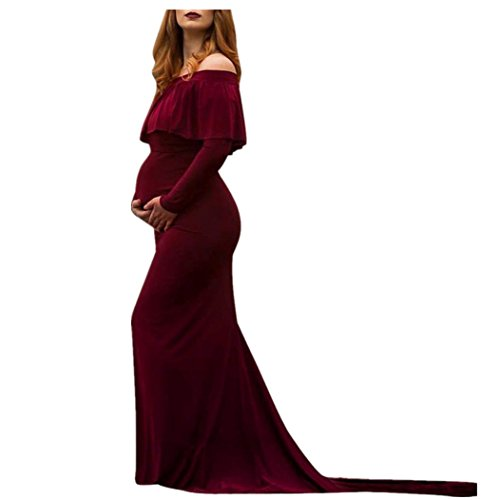 ManxiVoo Women's Off Shoulder Sexy Dress Ruffles Maternity Slim Fit Gown Maxi Photography Props Dress (S, Wine) ()