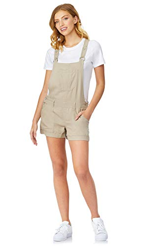 Khaki Bib - WallFlower Women's Juniors Linen Shortalls in Khaki, X-Large
