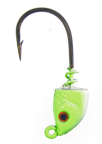 Bass Assassin Lures 1/4-Ounce Spring Lock Jigheads, Charteuse Flash, 2/0, 3 Count
