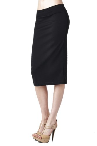 82 Days Women'S Ponte Roma Regular To Plus Below Knee Pencil Skirt - Solid