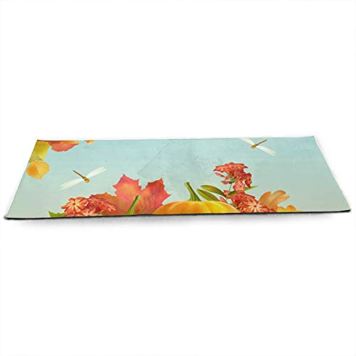 BradStaplesz Harvest Season Fallen Leaves and Pumpkins Adorable Print Exercise Fitness Mat Pilates Yoga Mat Gift