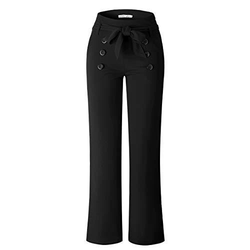VKOOVIFA Women's Stretchy Bell Bottoms High Waist Wide Leg Flare Pants Belt Black Small