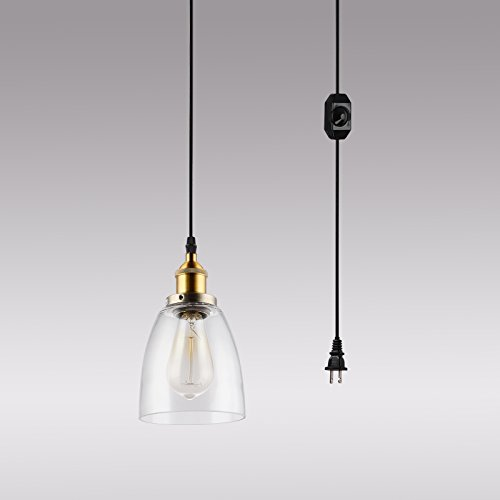 HMVPL Mini Glass Hanging Lights with Plug in Cord and On/Off Dimmer Switch, Updated Industrial Edison Antique Swag Pendant Lamps for Kitchen Island or Dining Room - Oval Lampshade (Light Plug In Pendant Mini)