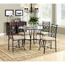 5 Piece Traditional Styling Metal Table and Glass Top Dining Set Model