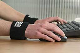 Wristease Portable Ergonomic Wrist Support (1 Pair) Padded Wrist Ease Rest Cuff Provides Comfort (Black - Medium)