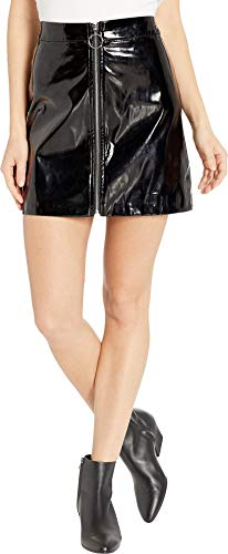 (Romeo & Juliet Couture Women's Zip Front Shiny Mini Skirt Black Medium)