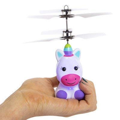 JU Toy Girls Plush (Bonus CUBIX Cube) LED Flying Ball, RC Flying Toy, Kid Toys, Infrared Induction Helicopter Drone Colorful Remote Controller for Kids Indoor Outdoor Games Unicorn Heli Ball