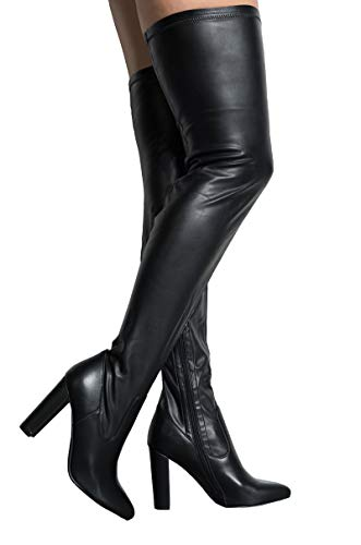 AZALEA WANG Faux Leather Latex Block Heel Sexy Thigh High Boots-BLACK STRETCH PU_6.5 ()