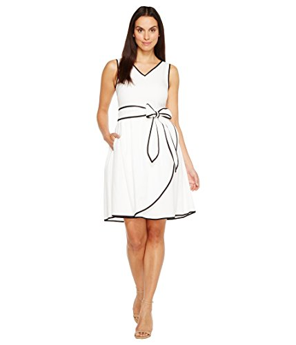 - ELLEN TRACY Women's Tetured Cotton Dress with Self Belt and Piping Detail, Black/Ivory, 10