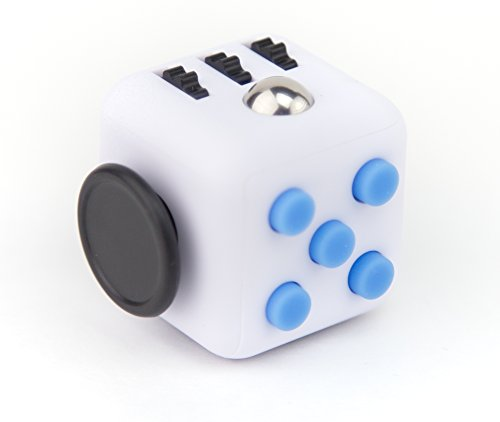 Focus Cube - (6 Colors) Fidget Cube Toy For Anxiety Stress Relief Attention Focus For Children / Adult Gift ADHD (White / Blue)